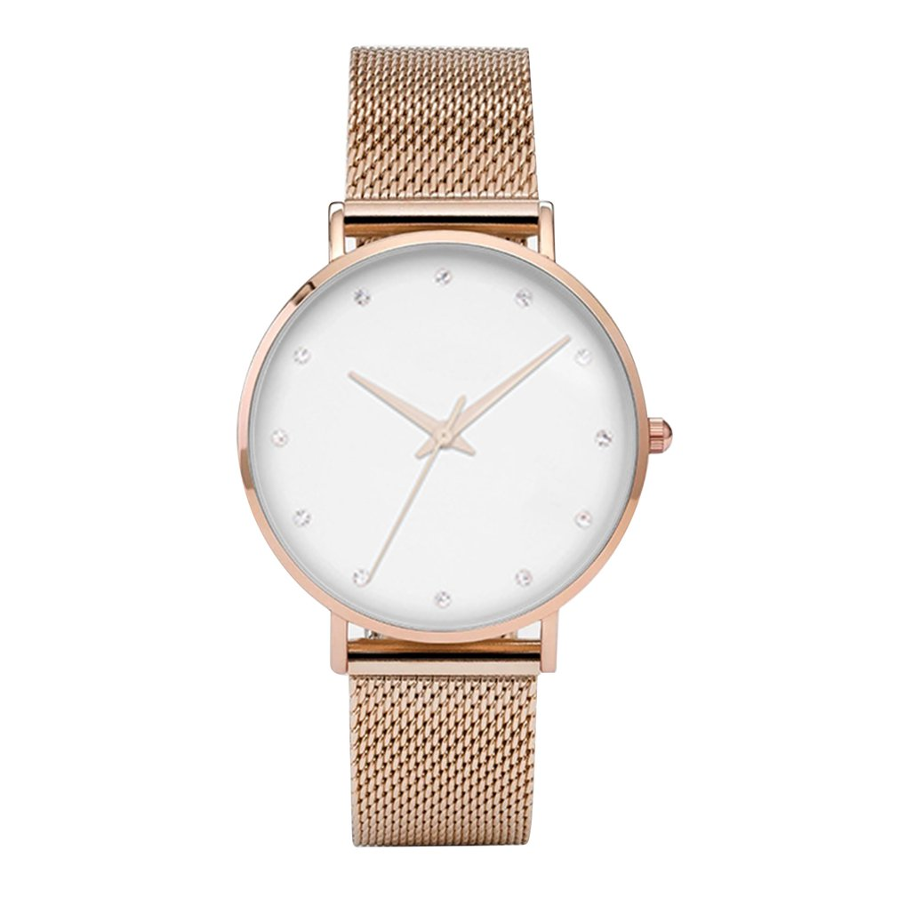 Temperament Women Watch Fashion Mesh Belt Simple And Stylish Quartz Watch Ladies And Men's Gift Female Watch Diamond Watch