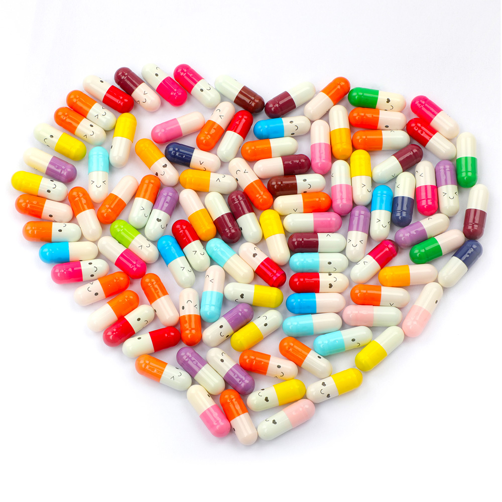 50PCS/Pack Cute Expression Capsules Love Pills Put In Wishing Drift Bottle Lovers Gift Valentine's Day Letter Holder