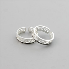 New Silver Color Rings For Women men Fashion Wave Jewelry Stainless Steel Hollow Adjustable Party Ring Best Friend Gifts 2020