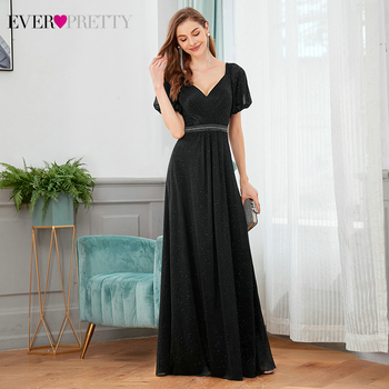 Sparkle Black Prom Dresses Ever Pretty A-Line V-Neck Short Sleeve Double Beaded Sexy Long Party Gowns Vestido Longo 2020