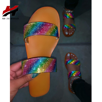NAN JIU MOUNTAIN 2020 Summer Flat Women Shoes Open Tea Beach Sandals Handmade Rhinestone Slippers Simple Sandals Women Slippers new women flat shoes rhinestone slippers colorful crystal sandals kid suede rivets studded outdoor rhinestone zapatos mujer