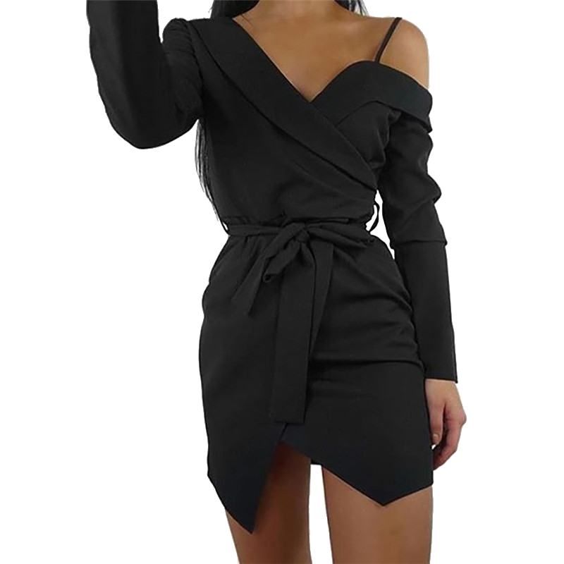 Red Black Women Office Party Dress Mini Femme Robe Elegant Off Shoulder V-neck Bodycon Sashes Sexy Dress Clubwear Solid M0494
