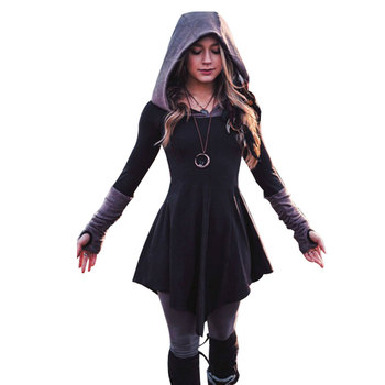 Free shipping  Women 's Hooded Skirt New Style Retro Splicing Long Sleeve Xs-5xl Casual Waist Closing Christmas Knitted