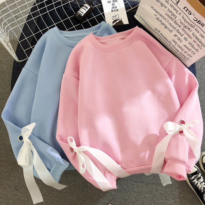 Korean Kawaii Solid Bow Hoodies Spring Autumn Sweatshirt Pink Blue Harajuku Students Streetwear Womens Clothes Hoodie Women Tops