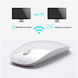 Wireless Dual Mode 2 In 1 Cordless Bluetooth 5.0 + 2.4Ghz Mouse 1600 DPI Ultra-thin Ergonomic Portable Optical Mice For PC