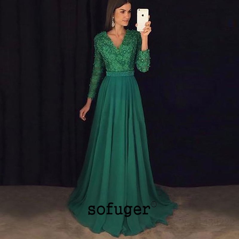 Green Long Sleeves V Neck Appliques Evening Mother Of The Bride Dresses Plus Size Weddings Party Vestidos Mae Da Noiva