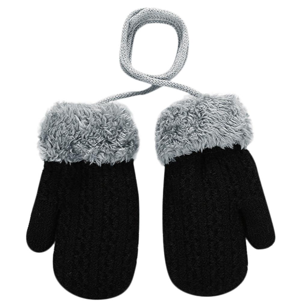 Теплые зимние Лоскутные рукавицы для маленьких девочек и мальчиков; милые детские перчатки; теплые зимние перчатки на весь палец - Цвет: Черный