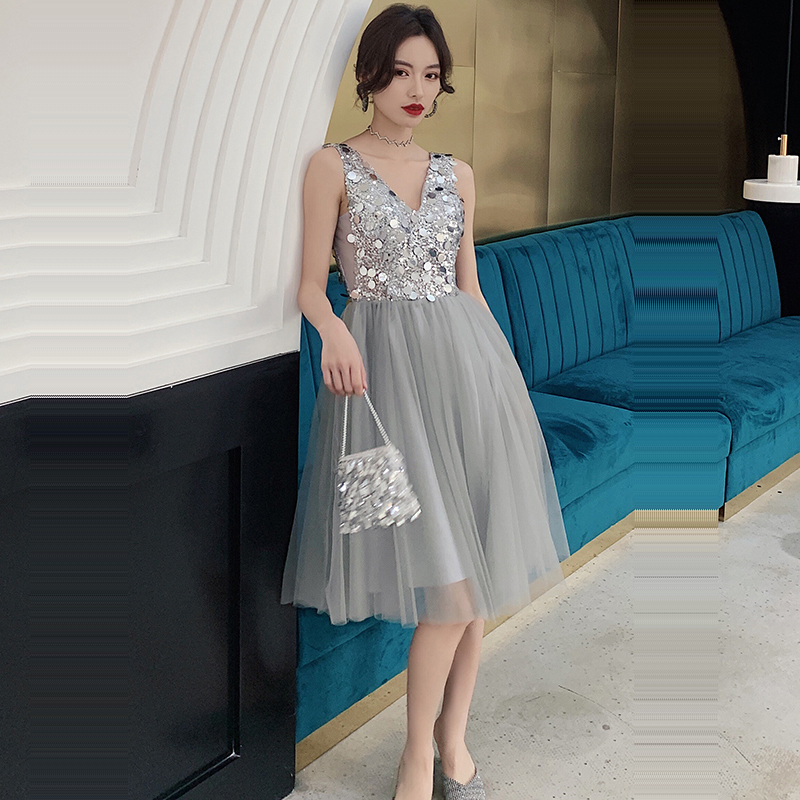 Cocktail Dress Sexy Slim V-neck Sleeveless Woman Party Dresses 2019 Plus Size Backless Sequin Zipper Robe Cocktail Gowns E739
