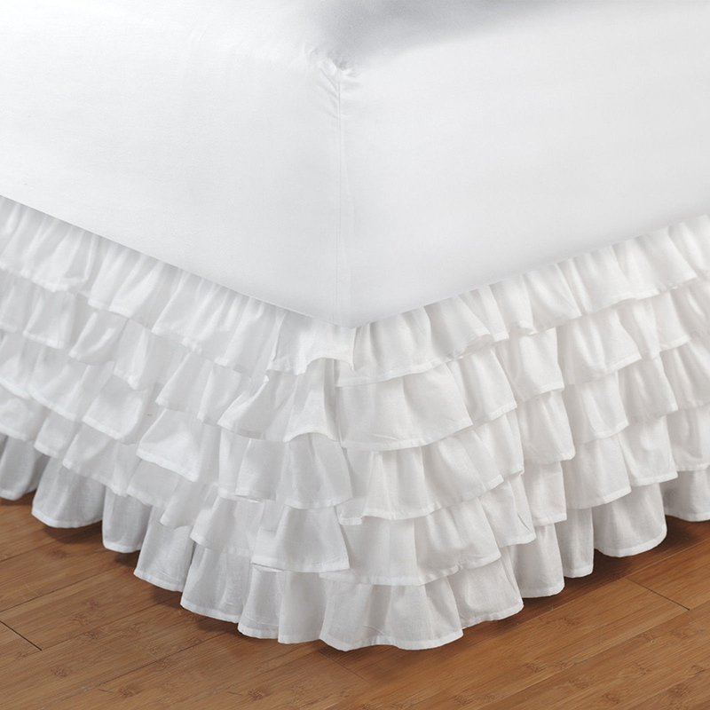 5 Layers Bed Skirt Hotel Bed Cover with Surface Home Bedroom Ruffled Bed Skirt Couvre Lit Bedspread Twin/Full/Queen/King Size