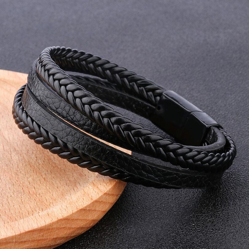 2019 Hot Trendy Genuine Leather Bracelets Men Stainless Steel Multilayer Braided Rope Bracelets for men Female Bracelets Jewelry