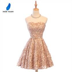 Платье для выпускного DEERVEADO XYG702, кружевное, до колена, с открытой спиной, длиной до колена