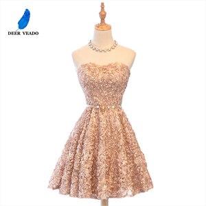 Image 1 - DEERVEADO XYG702 אונליין מתוקה קצר שמלות נשף 2020 סקסי ללא משענת שרוכים באורך הברך מסיבת שמלות לנשף שמלת אמיתי תמונות