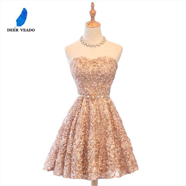DEERVEADO XYG702 אונליין מתוקה קצר שמלות נשף 2020 סקסי ללא משענת שרוכים באורך הברך מסיבת שמלות לנשף שמלת אמיתי תמונות