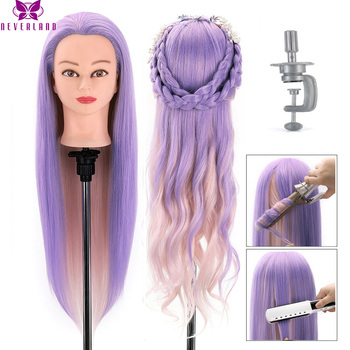 """NEVERLAND 28 Inch Hair Mannequin Head Hair Synthetic Doll Mannequin Manikin Practice Styling Hairdressing Training Braiding Head alileader 26"""" synthetic blonde black hair training mannequin head cosmetology hair salon hairdressing practice doll manikin head"""