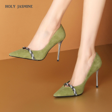 20120 New Arrival Women Kid Suede High Heels Thin Heel Pumps Party Shoes Diamond Pumps Dress Shoes Crystal Bow Pumps women heels