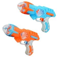 Мини-электрический игрушечный пистолет, музыкальный светильник, вращающийся пластиковый игрушечный пистолет для детей, игрушки для мальчиков, подарок на Рождество, день рождения, без батареи 53954