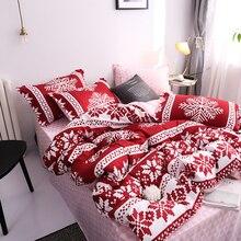 Juego de ropa de cama de copos de nieve para el hogar, funda de edredón, Sábana plana, de lino, geométrica, para adultos, 3/ 4 Uds.