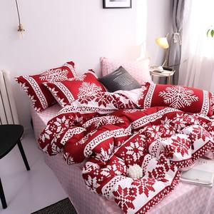 Image 1 - New Christmas Snowflakes Home bedding set 3/ 4pcs duvet cover set AB side bed linen flat sheet bedclothes adult Geometric
