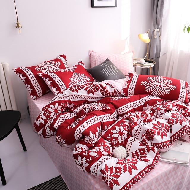 New Christmas Snowflakes Home bedding set 3/ 4pcs duvet cover set AB side bed linen flat sheet bedclothes adult Geometric