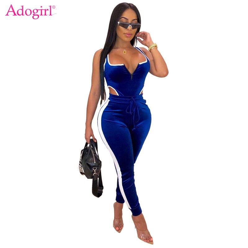 Adogirl Color Patchwork Velvet Two Piece Set Women Tracksuit Zip Tank Bodysuit Top Pencil Pants 2019 Autumn Fashion Casual Suit