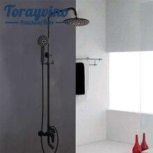 Torayvino набор для душа с черной краской для ванной комнаты, латунный кран torneira banheiro, кран с распылителем, настенный смеситель для душа, смеситель для воды