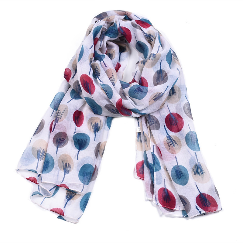 LOOZYKIT New Designer Dots Long   Scarf   Women   Scarves   Voile Balls Print Cotton Loop   Scarf   Ring Woman Shawls Muslin   Wraps   White