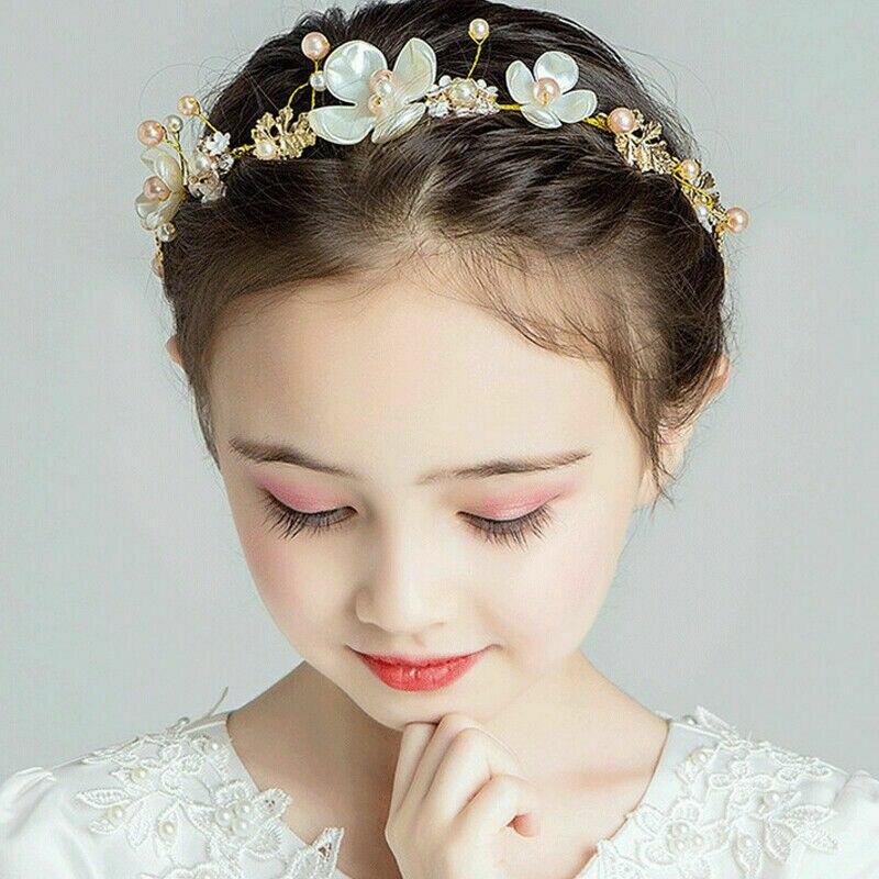 Gold Rhinestone Flower Girl Tiara Crown Headband Headpiece Wedding Party
