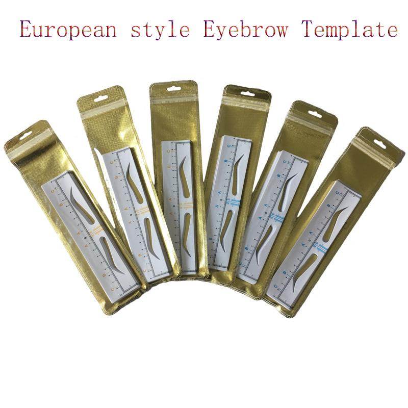 10pcs Disposable Microblading Eyebrow Sticker European Style Eyebrow Ruler Stencil Eyebrow Template Eyebrow Card Makeup Tools