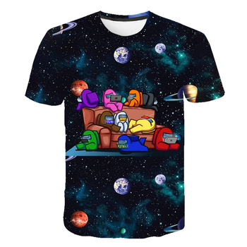 New 3D Among Us Kids T-Shirt Print Girls Funny Clothes Boys Costume Children 2021 Summer Tops Hot Game Baby Tshirts