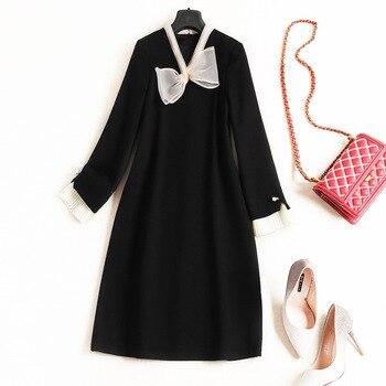 Женское атласное платье с длинными рукавами, черное асимметричное платье трапеция с оборками и бантом на воротнике, весна 2020