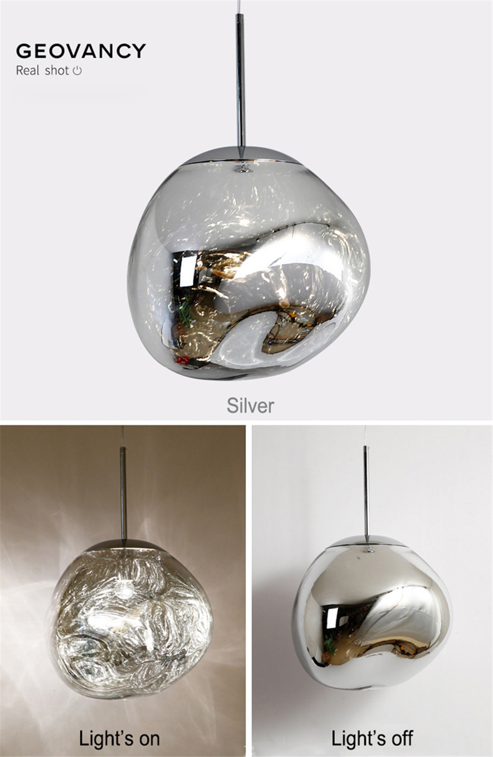 GEOVANCY Lava Pendant Lights - Silver