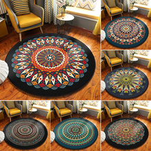 Ethnic Wind Non-slip Round Carpet Floor Mat Mandala Printing Coffee Table Hanging Basket Living Room Crystal Velvet Area Rug