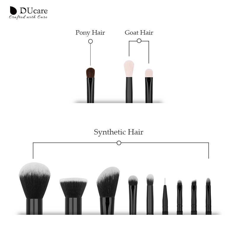 Ducare 12 pçs pincéis de maquiagem profissional pó fundação sombra compõem escovas conjunto natural cabelo cabra cosméticos escova conjunto