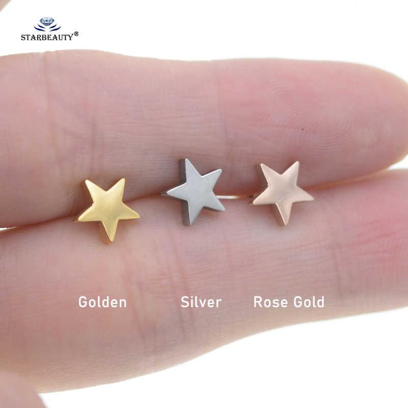 2 pcs/lot 18G Star Stud Earrings for Women Tragus Piercing Orelha Rose Gold Color Ear Piercing Helix Piercing Cartilage Jewelry