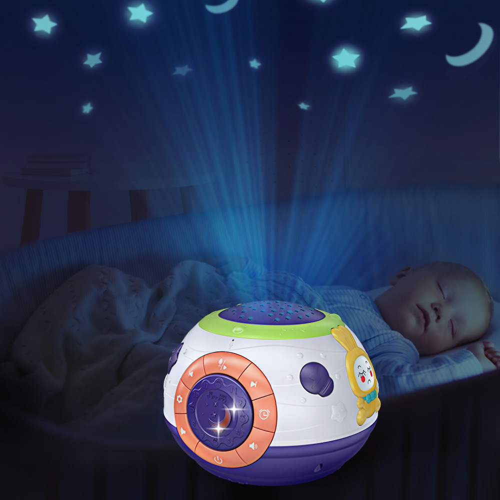 Plush Toy with Ceiling Projector Lights Musical LED Night Light Glowing Star and Moon Sleeping Time Show for Baby and Toddler Kids Room Elephant