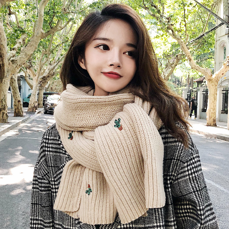 High Grade Brand Scarf Female Winter Korean Student's Versatile Knitting Long Thickened Warm Cactus Small Fresh Wool Bib