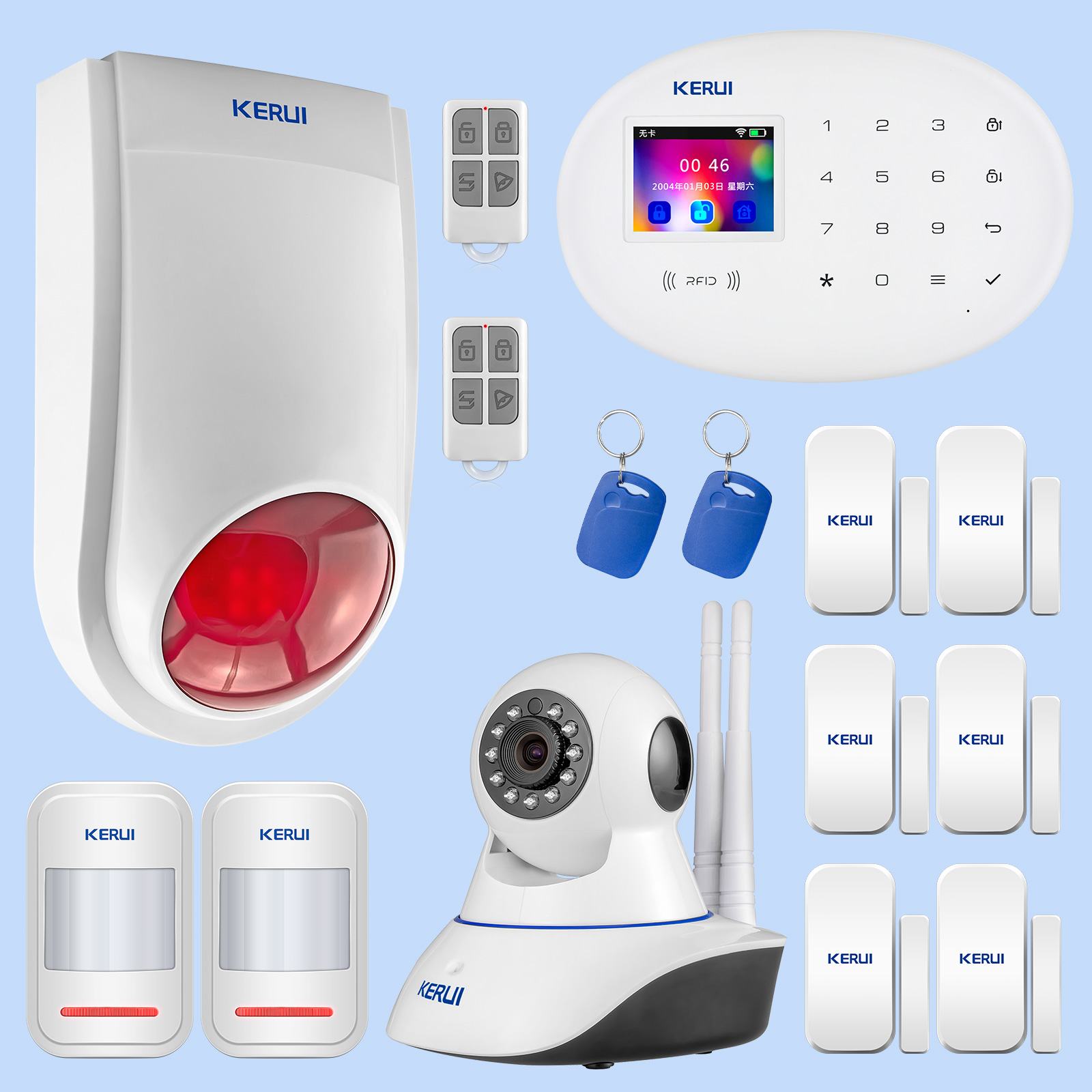 KERUI Outdoor Solar Flash Alarm WIFI Camera GSM Security Alarm System Suite Wireless Home Application Control Security System-in Alarm System Kits from Security & Protection