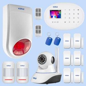 Image 1 - Kerui ao ar livre solar flash alarme wi fi câmera gsm sistema de alarme segurança suíte sistema de controle de aplicação em casa sem fio