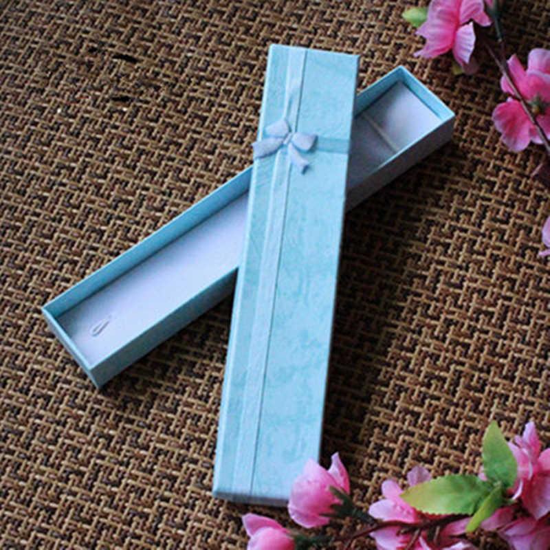 2019 New Long Necklace Bracelet Jewelry Box Bowknot Gift Box Jewelry Storage Case Wholesale Simple Style Valentine's Day Box 1PC