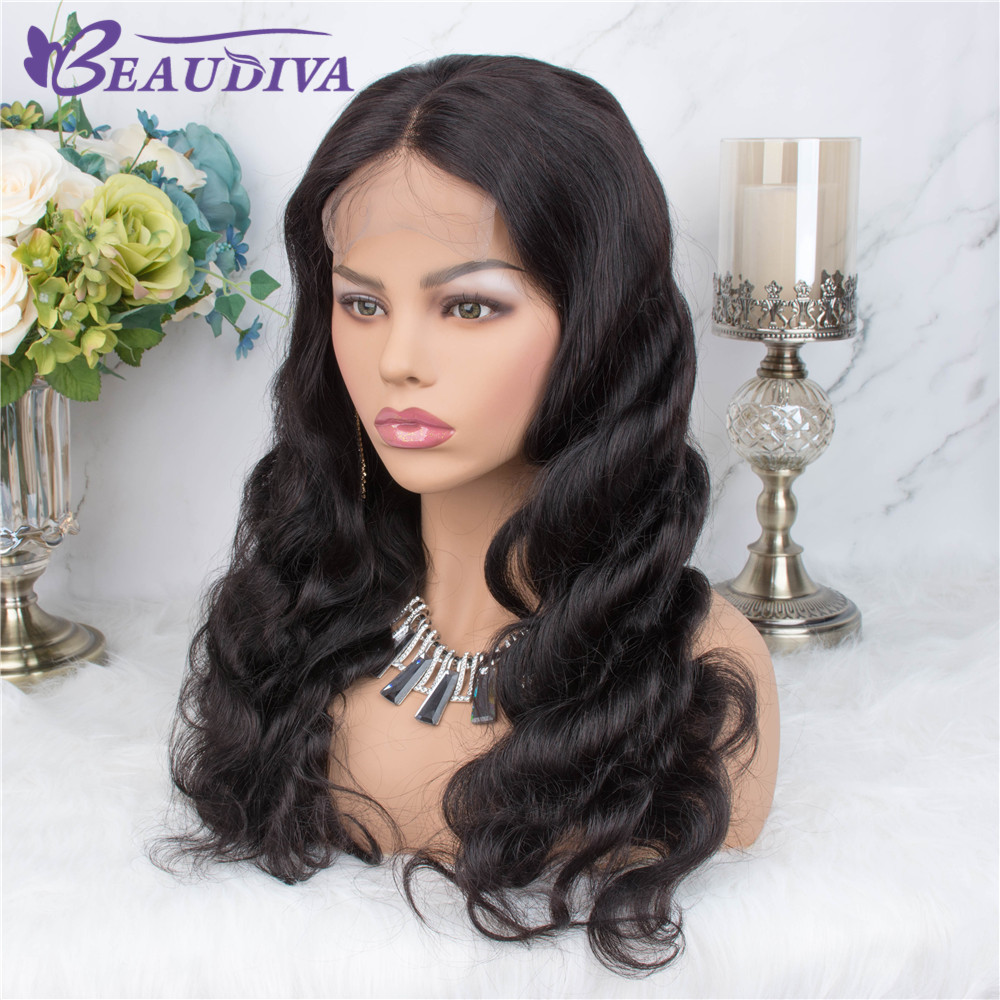 Body Wave 4*4 Lace Closure Wigs Middle Part Human Hair Wigs Pre Plucked With Baby Hair Remy Brazilian Body Wave Lace Wigs