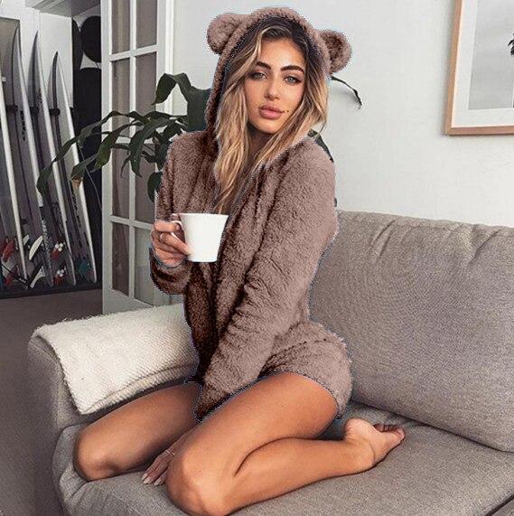 5XL Women Jumpsuits Fleece Pajama Bear Ear Hooded Bodysuit Shorts Winter Warm Tracksuit Streetwear One-piece Sleepwear Plus Size 12