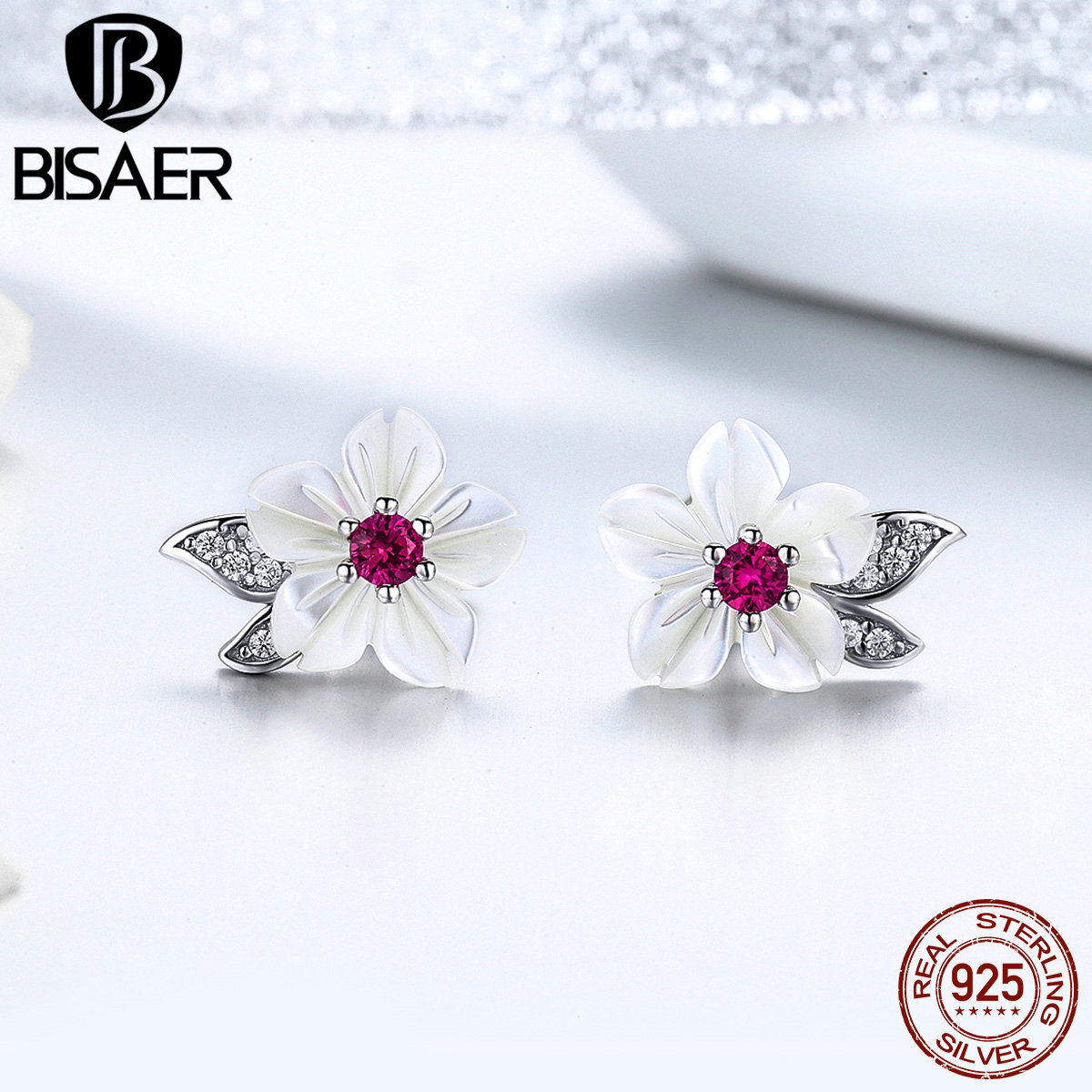 BISAER 925 Sterling Silver Blooming Shell Flower Stud Earrings Orchid Flower Small Women Earrings Sterling Silver Jewelry EFE055