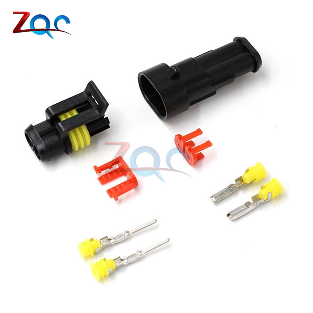 YIOVVOM Set of 10 Kit 1 Pin Way Waterproof Electrical Connector Plug with 10 CM 18 AWG Wire Male and Female 1.5 mm Series Terminals Adapter with yelloow Rubber Seal