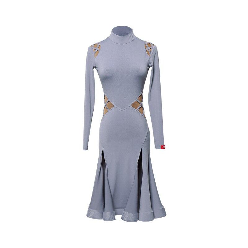 Тонкое Платье для латинских танцев, женское платье для танго, самбы, ча, ча, румбы, сальсы, бальных тренировок, женская одежда с длинным рукавом, одежда для выступлений DC3044 - Цвет: Серый