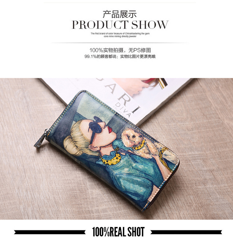 pintado carteira de embreagem de couro versão