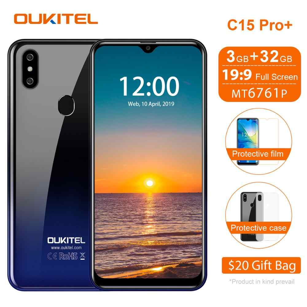 OUKITEL C15 Pro + Smartphone 6.088 pulgadas 3GB RAM 32GB ROM 3200mAh teléfono móvil huella dactilar Face ID 4G LTE Android 9,0 teléfono móvil