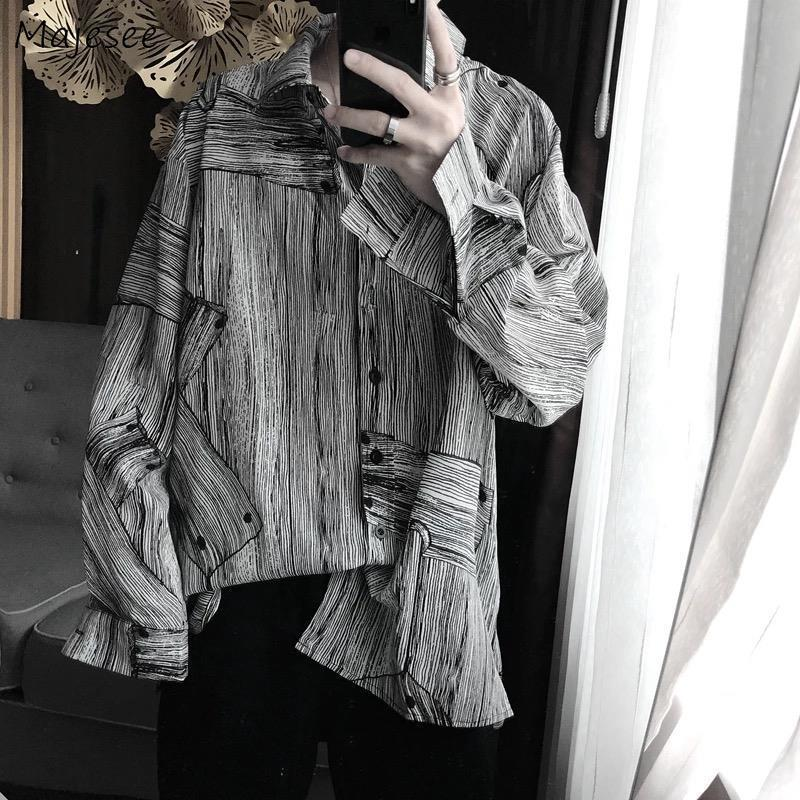Men Shirts Striped Long Sleeve Spring Korean Chic Leisure Loose Male Outwear Harajuku Hip-hop Streetwear Teens Ins Oversize New