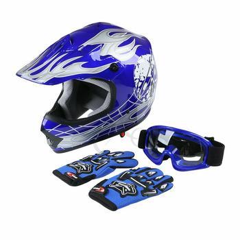 Dot Youth Kids Blue Dirt Bike Helmet Motocross Quards ATV Helmet Goggles+Gloves capacete moto  Boys Gifts full face kask 2
