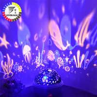 Coversage obrotowa lampka nocna projektor Spin Starry gwieździste niebo mistrz dzieci dzieci dziecko sen romantyczna lampa led na usb projekcja