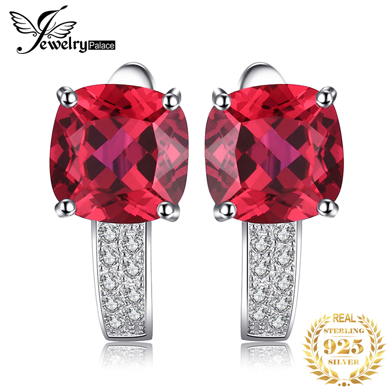 JewelryPalace Cushion Created Ruby Hoop Earrings 925 Sterling Silver Earrings For Women Gemstones Korean Earings Fashion Jewelry